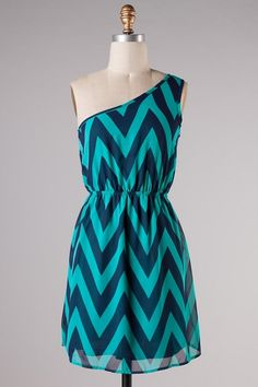 Blue Chevron One Shoulder Dress i want this dress im in love!!!!!!!!!!!!!!!!!!!!!!!<33
