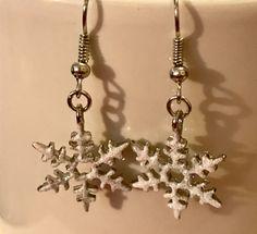 Snowflake Earrings, Holiday Earrings, White Earrings, Winter Earrings, Earrings, Jewelry, Jewellery, Holiday Jewelry, Nature Jewelry by Dzdjewelry on Etsy
