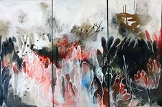Available to buy online from StateoftheART, Growing Wildly by Janet Botes, mixed media on canvas triptych size 110 x 76 x Triptych, Mixed Media Canvas, Online Art Gallery, Art For Sale, African, Contemporary, Artist, Painting, Canisters