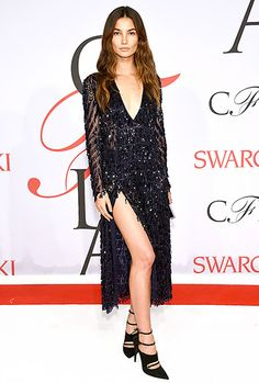 Lily Aldridge sashayed onto the scene in a Thakoon navy blue, beaded cocktail dress, paired with strappy heels.