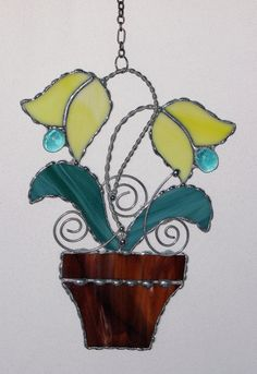Stained+Glass+Suncatcher++Tulip+Potted+Plant+with+by+GLASSbits,+$30.00