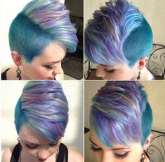 Kelly Anne Churnside of Salon Cielo in Covina, CA, created a cut inspired by the singer Pink and a vibrant Pravana color combo.