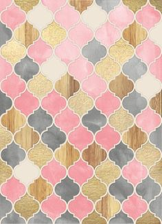 Silver Grey, Soft Pink, Wood & Gold Moroccan Pattern by Micklyn   A pretty, pale, soft and rosy pattern of Moroccan tiles, with a touch of gold paint and warm wood. pink... Click through for prints of this artwork (cards, phone cases etc.)!