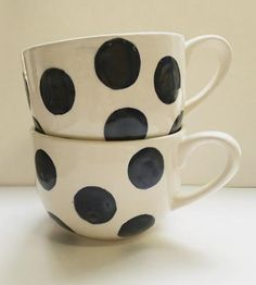 Midnight Blue Polka Dot Mugs, Set of 2 by Sprout Studio