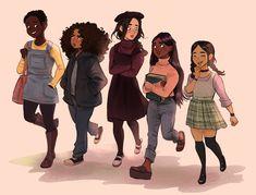 Character Design - February 2018 on Behance Black Anime Characters, Girls Characters, Cute Art Styles, Cartoon Art Styles, Character Drawing, Character Illustration, Character Design Animation, Black Girl Art, Art Girl