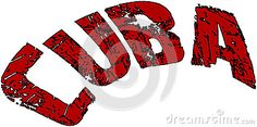 Cuba text sign illustration