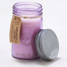 AEO Paddywax Lavender & Thyme Jar Candle ($20) ❤ liked on Polyvore featuring home, home decor, candles & candleholders, purple, american eagle outfitters, scented jar candles y purple home decor