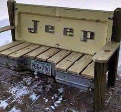 I'd like to see it with a ford tailgate!Hand made patio bench featuring a real vintage Jeep pickup tailgate and a bumper. Great for your back porch, camp site, cabin or patio. Car Part Furniture, Automotive Furniture, Automotive Decor, Furniture Projects, Home Projects, Automotive Group, Automotive Design, Furniture Design, Into The Woods