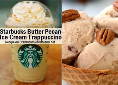 Starbucks Secret Menu: Butter Pecan Ice Cream Frappuccino Butter Pecan candy, ice cream, nuts, you name it! They all have the save sweet flavoring that you can't get enough of. Try it in Frappuccino form and you won't be disappointed! Frappuccino Recipe, Starbucks Frappuccino, Starbucks Coffee, Starbucks Secret Menu Drinks, Starbucks Recipes, Yummy Drinks, Yummy Food, Coffee Drink Recipes, Coffee Drinks