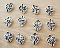 Heart Charms in Silver Tone $3.50