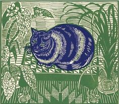 Richard Bawden  Blue Cat  lino cut  21st century