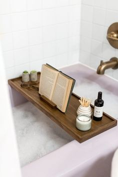 Try this DIY Modern Wood Bath Tray project before your next relaxing spa night in! We're sharing the full tutorial and supply list this way. Wood Bath Tray, Wooden Bath, Wood Tray, Bath Trays, Bath Caddy Wooden, Bathtub Caddy, Bathtub Tray, Bath Tub, Vanities