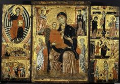 Madonna and Child Enthroned - Artist: Master of the Magdalen (Italian, Florence, active 1265–95) Medium: Tempera on wood, gold ground
