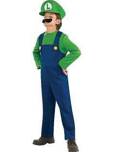 Child Super Mario Bros Luigi Costume