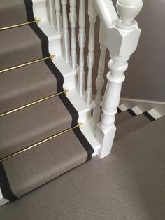 To supply & install grey carpet with black border and golden stair rods to stairs Tile Stairs, Hallway Flooring, Wooden Stairs, House Stairs, Hall Carpet, Diy Carpet, Carpet Stairs, Carpet Flooring, Carpet Ideas
