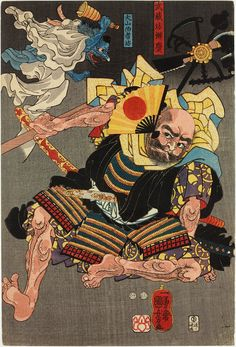 Minamoto Yoshitsune fights Benkei on Gojo bridge, with the help of Tengu demons (part of the triptych), ca. 1847-1850 by Utagawa Kuniyoshi