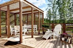 Wholesale Trader of Wooden Pergolas - Wooden Pergolas & Decking - Pine, Thermo Pine Pergola offered by Insignis Floors Private Limited, Noida, Uttar Pradesh. Pergola Screens, Gazebo Pergola, Wooden Pergola, Covered Pergola, Wooden Decks, Patio Roof, Outdoor Dining, Outdoor Spaces, Outdoor Decor