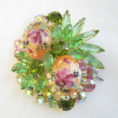 Vintage JULIANA Verified Delizza and Elster D Green Rhinestones, Aurora Borealis, and Rose Limoges Brooch by MyVintageJewels