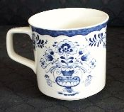 English Blue Transfer Ware Floral Vase Mugs