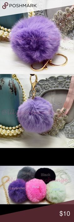 Lavender pom pom keychain fur ball NWOT! Brand new!! Made with Rabbit fur Gold hardware.  Size: (approx) Ball Diameter = 8cm  Its a keychain, you can also use it to put as purse charm, key fob or whatever your heart desires.   Great gift for your family, friends or your self.  ** color might be slightly different cause of the lightning  Great for your Louis Vuitton, Prada, Fendi, Chanel, Michael Kors, Gucci, Coach Tory Burch, Kate spade, Marc jacobs and others purses/bags. Accessories Key…