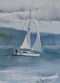 """Sailboat Exercise by Poppy Balser Watercolor ~ 7"""" x 5"""""""