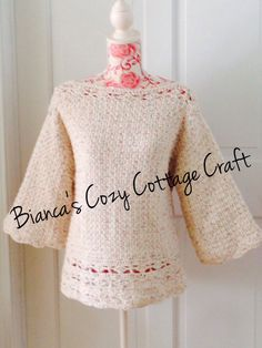 Crochet cotton sweater, handmade sweater, crochet woman sweater, 3/4 sleeves, detailed edging, crème color by BsCozyCottageCrafts on Etsy https://www.etsy.com/listing/225547468/crochet-cotton-sweater-handmade-sweater