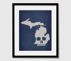 Michigan State Map Custom Skull Print I Love USA Halloween Rock and Roll Wall Art Gift Souvenir Lansing Grand Rapids. $15.00, via Etsy.