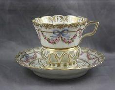 Dresden Franziska Hirsch Porcelain Antique Hand Painted Trembleuse Cup Saucer | eBay