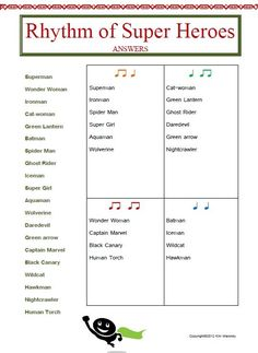 12 RHYTHM worksheets SET 2  This set of 12 RHYTHM worksheets actually contains 13 RHYTHM worksheets!!  Students are to match the name of the given words to the correct rhythm.  $: