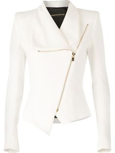 Alexandre Vauthier Fitted Biker-Style Jacket from farfetch. Saved to clothes. Unique Outfits, Stylish Outfits, Fashion Outfits, Denim Attire, Formal Suits For Women, Biker Style, Hijab Outfit, Business Attire, Alexandre Vauthier