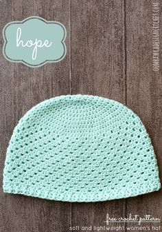 Hope for Women - free crochet pattern -  This was a request from a reader for a crochet hat to be used for patients undergoing chemotherapy ( chemo cap )