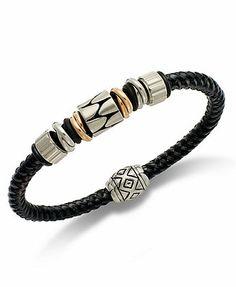 Men's Stainless Steel and Black Rubber Bracelet, Beaded Bracelet