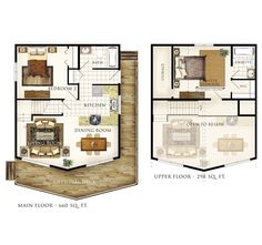 Small  Bed Bath With Loft Floor Plans Two Bedroom Cabin Plan - Floor plans for small homes