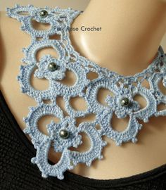 Pink Rose Crochet: Maxi Colar Gola Lily Crochet Collar Necklace