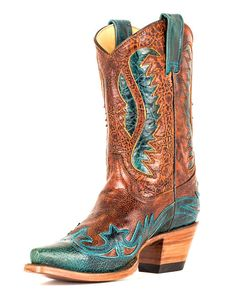 Women's Vintage Tan/Turquoise Short Top Wing Tip Boot - R2520