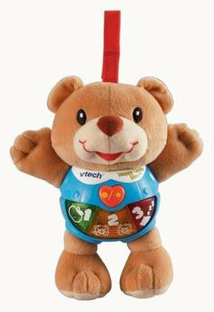 VTech Baby Happy Lights Bear by V Tech. $15.84. Give baby a great big bear hug! This friendly bear will welcome baby with open arms! Three colorful light-up buttons, sing-along songs and cheerful phrases will engage your little one from play time to nighttime. The soft fabric will provide hours of bear hugs on the go, while the soft strap easily attaches to a crib for nap time. Parent-Friendly features-Automatic shut-off preserves battery life, Durable design for lo...
