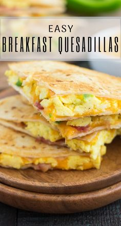 These Easy Breakfast Quesadillas are filled with fluffy, scrambled eggs, green p. These Easy Breakfast Quesadillas are filled with fluffy, scrambled eggs, green p. Healthy Breakfast Desayunos, Egg Recipes For Breakfast, Breakfast Dishes, Apple Breakfast, Egg Recipes For Dinner, Breakfast Wraps, Veggie Egg Recipes, Healthy Recipes With Eggs, Chicken For Breakfast