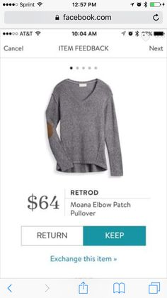 Stitch fix stylist-I like this sweater. I like the elbow patches. And I prefer v-neck or scooped shirts. They are more flattering to my bosom.