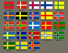 Nordic Flags: interesting to see Orkney and Shetland Islands in there, reflective of their viking history Thinking of making a flag board Vikings, National Symbols, National Flag, Cross Flag, Orkney Islands, Flags Of The World, Flag Design, Family History, Sweden