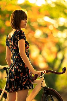 girl on bike - stock photo