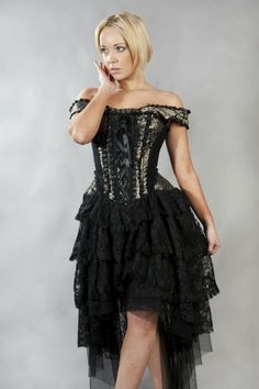 Ophelie King Gold Brocade Black Corset Dress by Burleska Steampunk Corset Dress, Black Corset Dress, Gold Corset, Vintage Corset, Steampunk Clothing, Gold Dress, Corset Dresses, Gothic Steampunk, Gold Lace