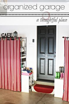 Curtains -Clever Idea for Garage storage that looks stylish too