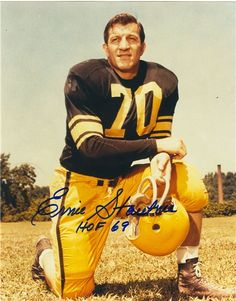 Defensive Tackle (1950-63) Elected: 1969  Ernie Stautner, considered one of the  toughest players in league history by his  teammates and opponents, was a ninetime  Pro Bowl selection as he anchored  Pittsburgh's defense for 14 seasons. He  captured the NFL's Best Lineman Award  in 1957 and was named all-league four  times. Showing his gritty and hard-working  attitude, Stautner missed just six games  during his 14-year career. He's the only Steeler to date to have his #70 retired.