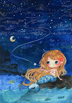 little mermaid at night