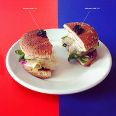 """Burger du premier tour. Sauce Hollandaise (26%), """"Pauv' con""""combre (26%), Poisson Mariné (16%), Salade Mélanchée (13,5%), Joly cream cheese (3%), Pignons-Aignan (1,5%), Saint-Jacques Cheminade (0,5%)… Le burger du changement c'est maintenant."""