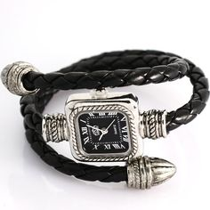 uSs Black Cable Leather Braided Wrap Around Ladies Womens Bracelet Bangle Wrist Watch: Watches: Amazon.com