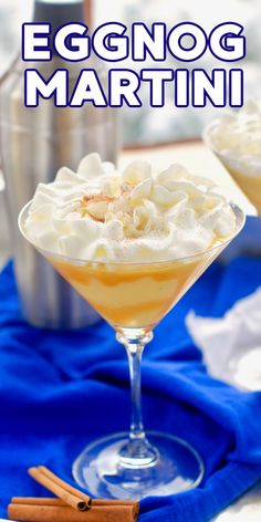 This Eggnog Martini is perfect for your holiday party! If you can't get enough of eggnog specialty drinks this Christmas cocktail is for you.