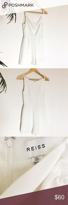 🆕 Reiss Ruched Romper Elegant and minimalist white romper with a unique ruched square neckline and side pockets. Got off Posh, but I don't have the body for it. In fantastic condition, no flaws. Reiss Pants Jumpsuits & Rompers