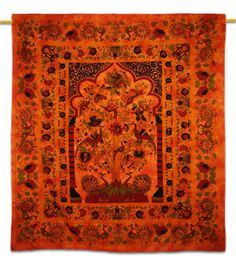 Beautiful Indian Screen Printed Cotton Tree Of Life Print Tapestry or Bed Cover in Twin Size. ..this is img