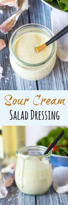 Sour Cream Salad Dressing - simple to put together with cupboard ingredients. New Recipes, Real Food Recipes, Salad Recipes, Dinner Recipes, Cooking Recipes, Favorite Recipes, Healthy Recipes, Special Recipes, Simple Recipes